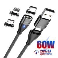 USB C a USB tipo C Micro per iPhone PD 60W cavo magnetico per MacBook iPad Pro ricarica rapida 3.0 USB-C cavo di ricarica dati USB veloce