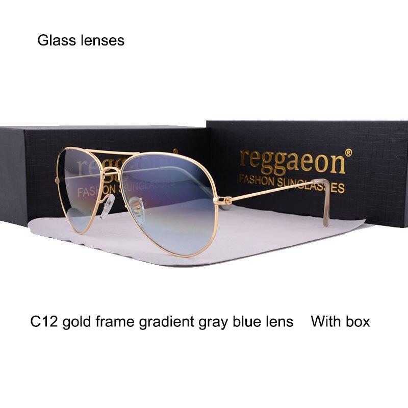 2020 Glass lenses sunglasses Men women Eyewear lLarge frame Double beam Driving pilot Glasses Oculos De UV400 Glass sunglasses