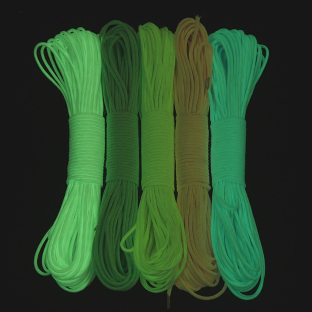 3 Meters Survival Paracord Luminous Rope Camp Glow Paracord 550LB 7 Strands Parachute Cords Lanyard Ropes Camping Equipment