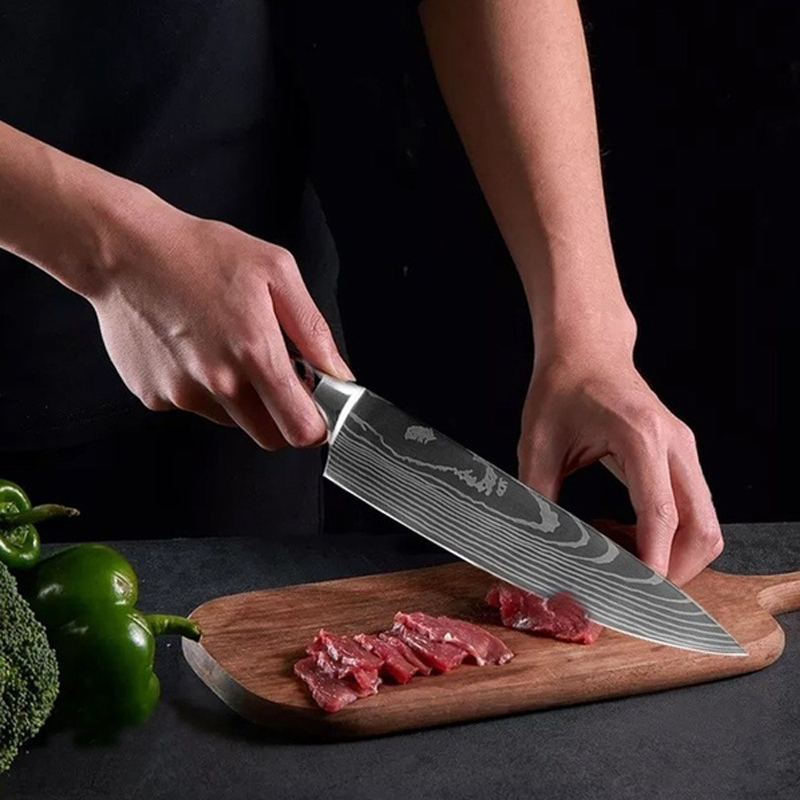 5 Pcs/Set Kitchen Knife High Carbon Stainless Steel Laser Pattern High Quality Chef Knife