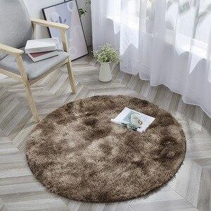 Image 3 - Tie Dye Ronde Tapijt Fotografie Props Home Decoratieve Fauteuil Mat Anti Slip Tapijt Grijs Kleurverloop Pluche Woonkamer tapijten