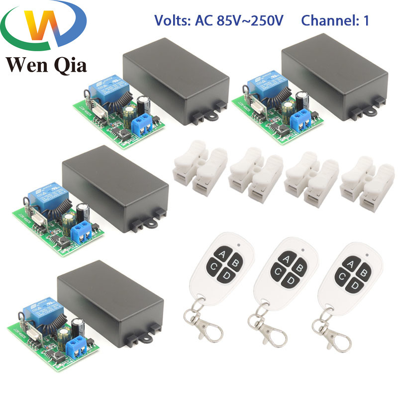 Wenqia smart switch 433Mhz RF Remote Control AC 85-220V 1 Ch Relay Receiver and Transmitter meanwhile control for Light/Fan/Led