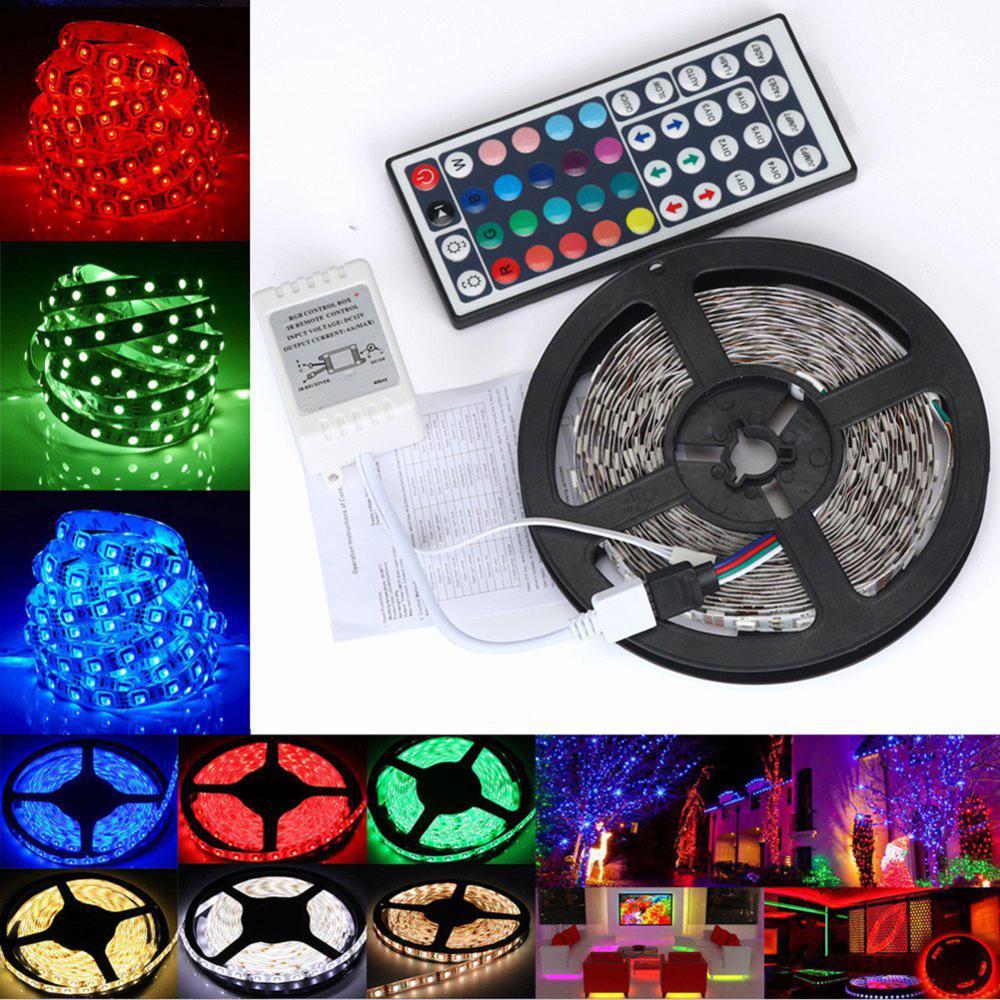 LED ストリップライト RGB 5050 SMD 2835 柔軟なリボンフィッタ led ライトストリップ RGB 5 メートル 10 メートル 15 メートルテープダイオード DC12V 60LEDs 1 メートル + 制御