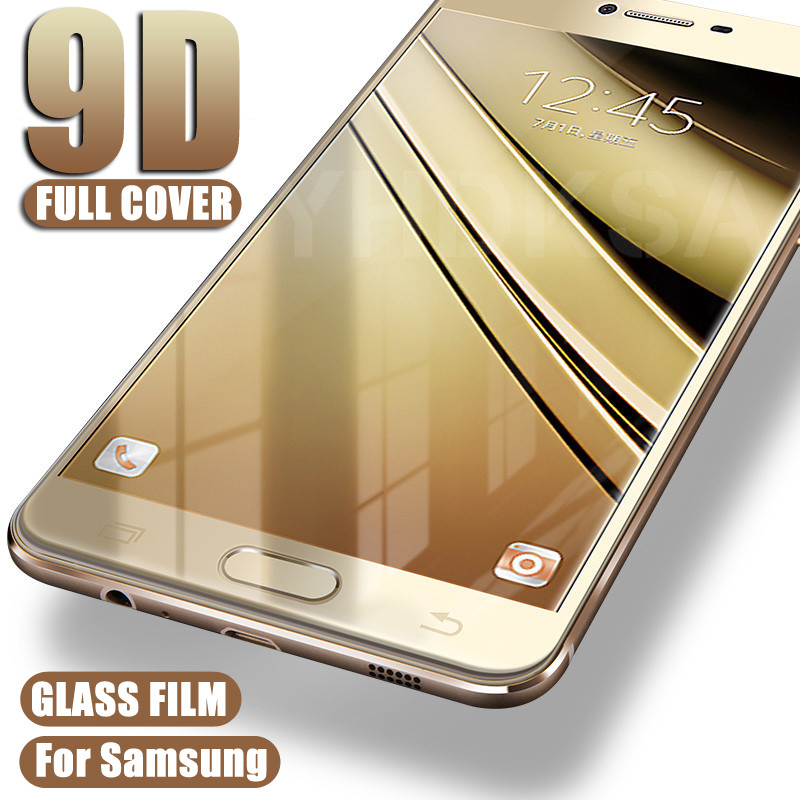 9D Full Cover Protective <font><b>Glass</b></font> on For <font><b>Samsung</b></font> Galaxy S7 A3 A5 A7 J3 <font><b>J5</b></font> J7 2016 2017 Safety Tempered Screen Protector <font><b>Glass</b></font> Film image