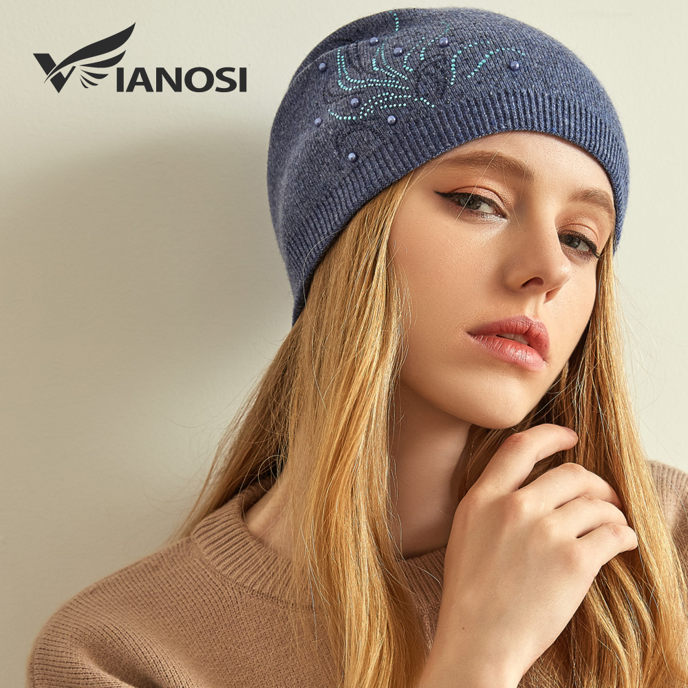 VIANOSI Wool Winter Hats For Women Warm Beanies Hat New Fashion Design Caps With Pearl Touca