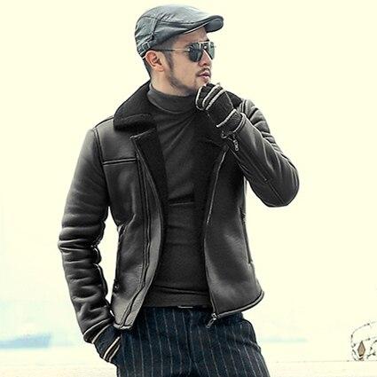 men Fur Warm Black Zippers Soft Leather Jacket Motorcycle Bikers Leather Jacket New Slim Casual man Outwear Brand Jacket F8296