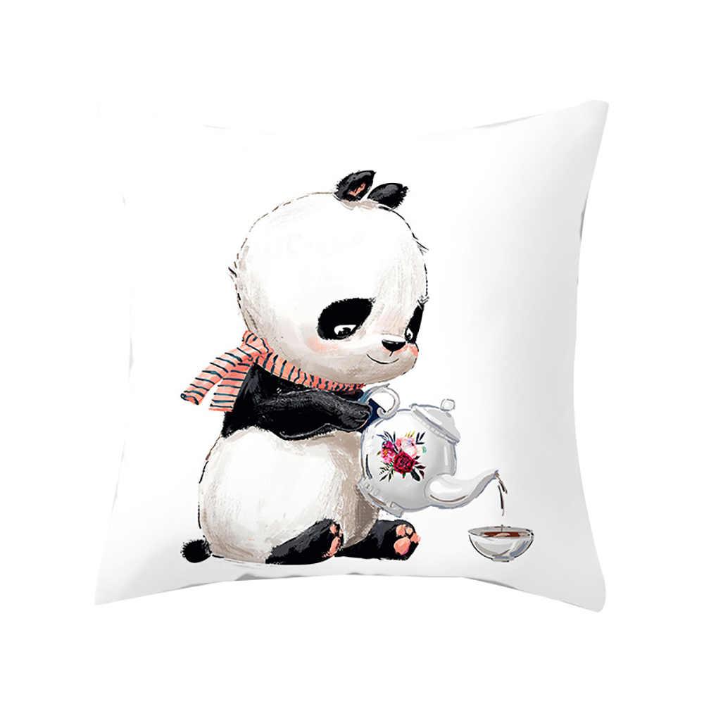 يتشي الكرتون الحيوانات غطاء وسادة مطبوعة حالة 45x45 سنتيمتر البوليستر Peachskin الباندا غطاء الوسادة لغرفة النوم المنزل مكتب رمي سادة