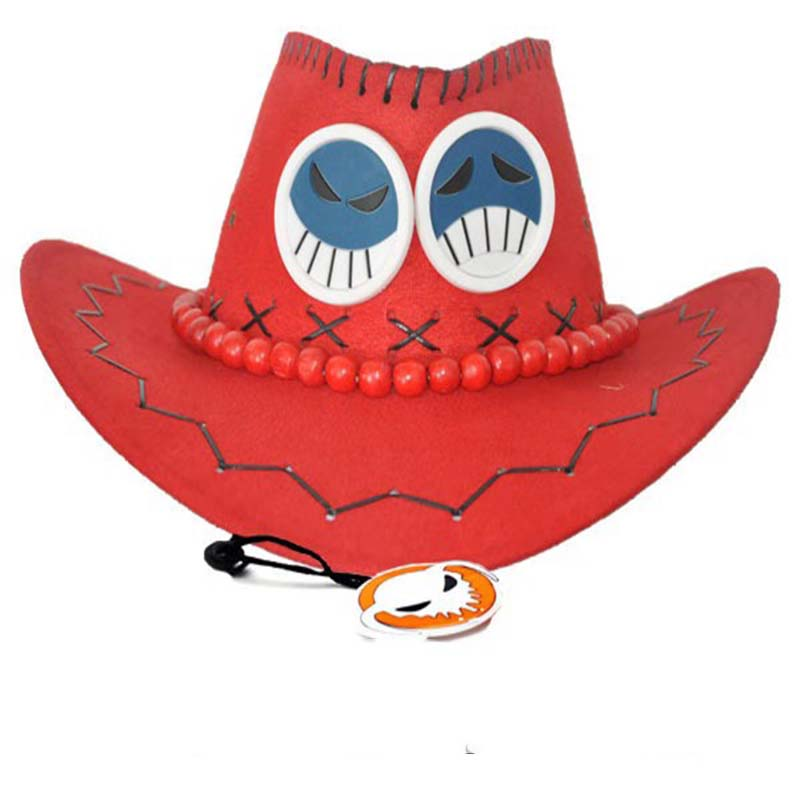 One Piece Portgas D Ace Cowboy Hat Cap Cosplay Costume Acces Prop Novelty Gift