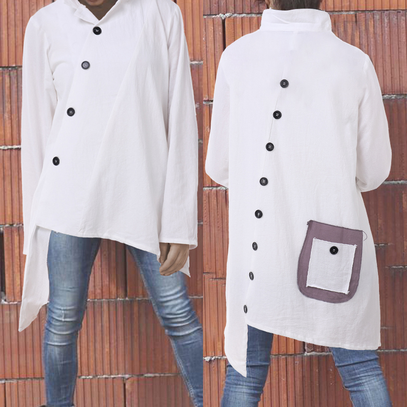 2019 Celmia Oversized Vintage Cotton Tops Women Blouses Long Sleeve Buttons Asymmetrical Shirts Pockets Loose Blusas Femininas