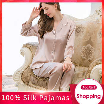 Women 19 m/m Real Silk Pajamas Set Brand 2019 Solid Pyjama Set Femme Sleep Lounge Bedgown 100% Hangzhou Silk Sleepwear Pijama - DISCOUNT ITEM  45% OFF All Category