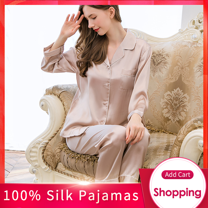 Women 19 M/m Real Silk Pajamas Set Brand 2020 Solid Pyjama Set Femme Sleep Lounge Bedgown 100% Hangzhou Silk Sleepwear Pijama