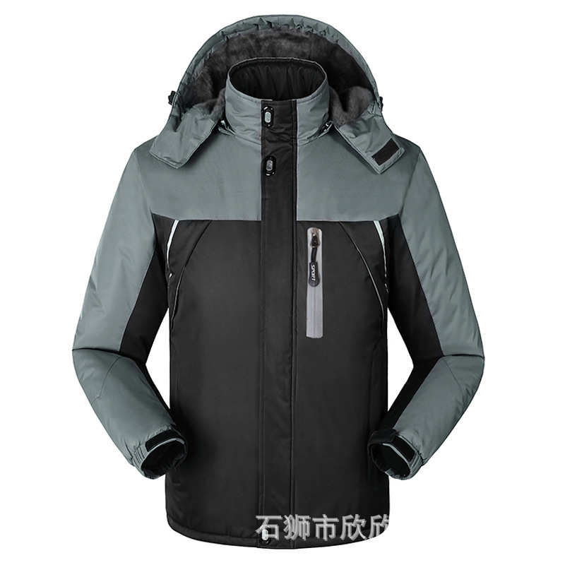 New Style Outdoor Raincoat Jacket Mens Plus Velvet Thick Autumn And Winter Warm Wind Jacket Plus-size