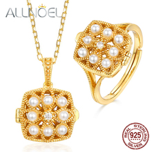 ALLNOEL 925 sterling silver Jewelry For Women Handmade Pearls 5A White Zirconium Real Gold Engagement Anniversary Fine Jewelry