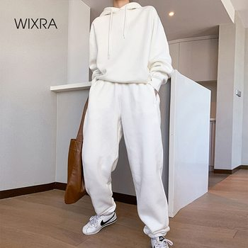 Wixra Womens Basic Cotton Sweatshirts Sets Early Spring Hoodies+ Elastic Waist Pants Casual Suits Street Wear 1