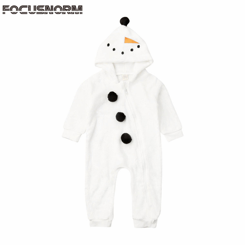 2019 <font><b>Baby</b></font> Autumn Winter Clothing Newborn <font><b>Baby</b></font> Boy <font><b>Girl</b></font> Snowman <font><b>Romper</b></font> Cartoon <font><b>Fleece</b></font> Hooded Jumpsuit Cute <font><b>Christmas</b></font> <font><b>Clothes</b></font> 0-3Y image