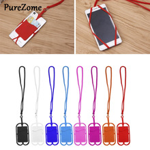 Detachable Silicone Lanyard Cell Phone Case Holder Neck Strap With ID Card Slot mbr cell power neck