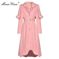 MoaaYina Fashion Designer Woolen coat Winter Women Long sleeve Embroidery Elegant Keep warm cloak Overcoat