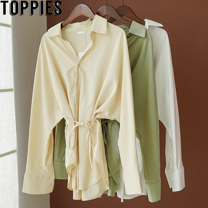 Toppies Tops Shirts Blouses Korean Oversized Drawstring Long-Sleeve White Khaki Cotton