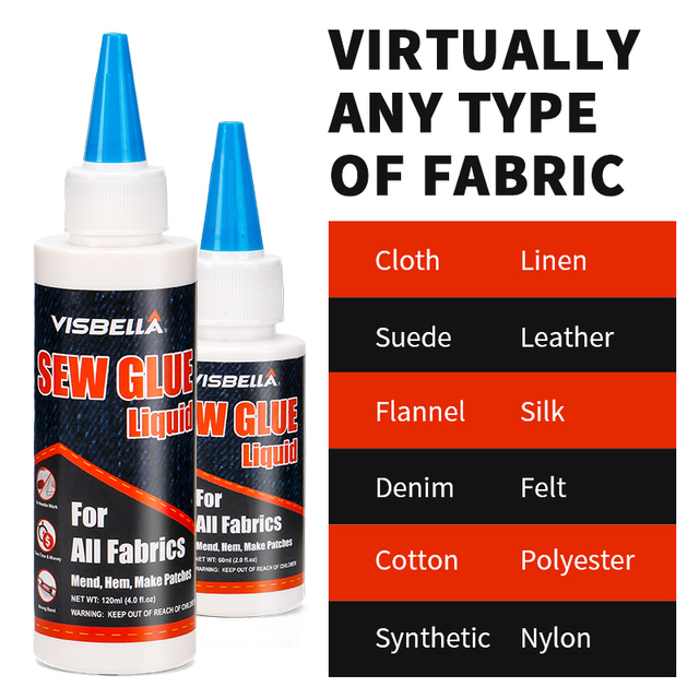 VISBELLA 180ml colle de liaison liquide coudre tissu adhérer kit de réparation pour tissu Denim cuir artisanat décoratif naturel synthétique