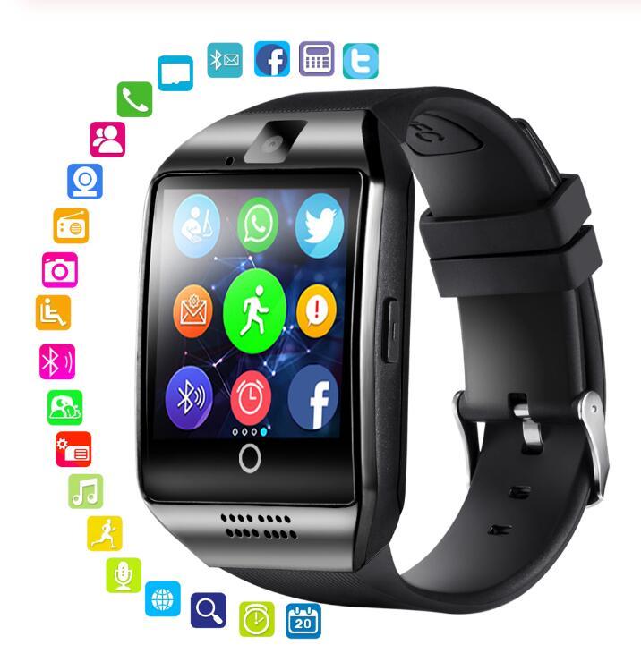 Bluetooth inteligente esportes relógio q18 com câmera facebook whatsapp twitter sincronização sms smartwatch apoio sim tf cartão para ios android