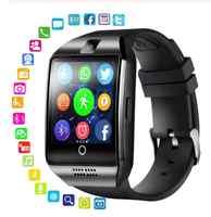 Reloj deportivo inteligente Bluetooth Q18 con cámara Facebook Whatsapp Twitter Sync SMS Smartwatch compatible con tarjeta SIM TF para IOS Android