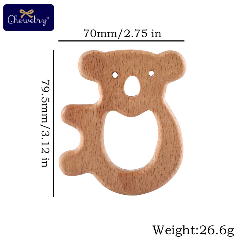7PC Baby Wooden Teether Beech Animal Koala Cat Rodent Baby Teething Pandent Tiny Rod DIY Pacifier Chain Toy Children Product