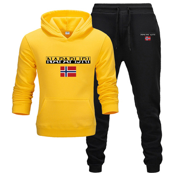 2 pieces sets tracksuit male hooded sweatshirt + pants pullover hoodie sportwear suit ropa hombre casual men clothing size S-3XL