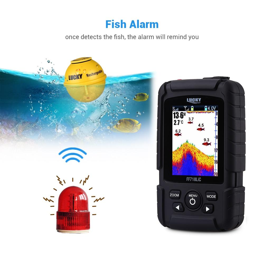 LUCKY  FF718LiC-W Fish Finder Wireless Fishfinder Fishing Sonar 45M/147Feet Depth Sounder Echosonda Echolot Echo Sondeur Deeper 3