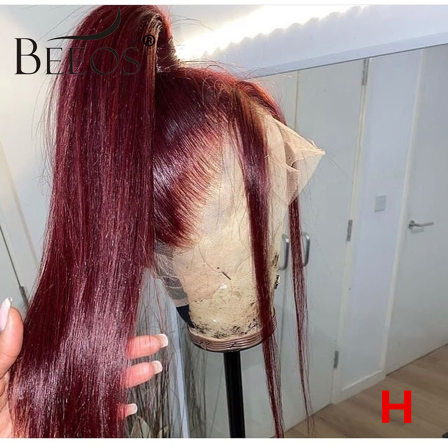 Beeos Burgundy Straight 360 Lace Front Human Hair Wigs 99J 150% Peruvian Remy Lace Wig PrePlucked With Baby Hair Bleached Knots