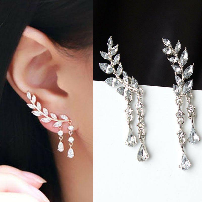 Trendy Angel Wings Crystal Drop Earrings For Women Long Pendant Dangle Earrings For Girls Jewelry Gift Party For Female Wedding