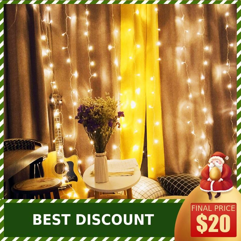 3 X 3 Meters LED Ice Strip Lamp Curtain Lamp String Waterfall Lamp Christmas Day Interior Room Decorative Lights