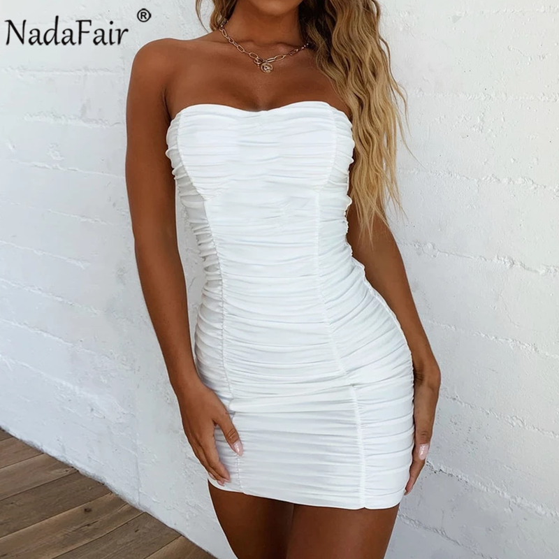 Nadafair Off Shoulder Strapless Backless Tube Sexy Wrap Summer Dress Women Ruched Mini Party Bodycon Club Dress White Black