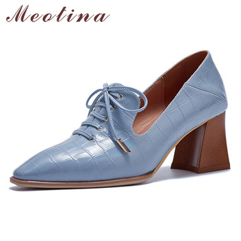 Meotina High Heels Women Pumps Natural Genuine Leather Thick High Heels Shoes Real Leather Round Toe Party Shoes Ladies Size 42