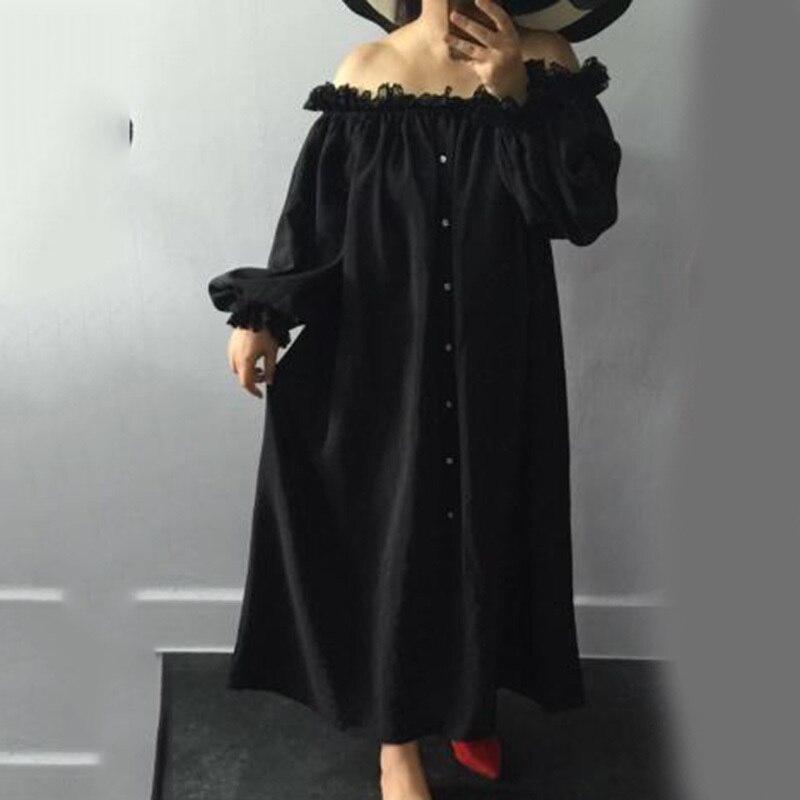 New Fashion Style Temperament Stylish Spliced Lace Slash Neck Long Loose Dress Fashion Nova Clothing