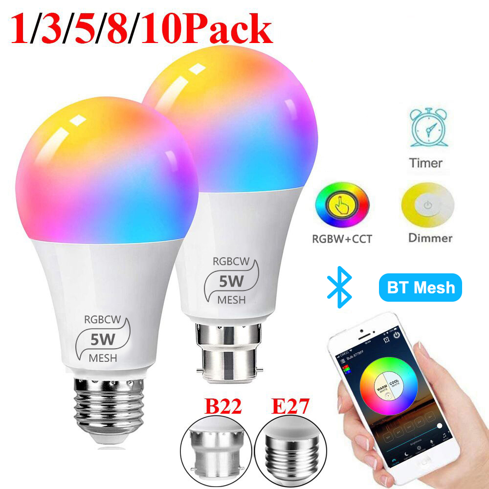 Smart Bulb E27 B22 Dimmable Bluetooth 4.0 Magic Bulb Color Changing Lamp Alexa Google Assistant IOS/Android RGB LED Bulb D30 image