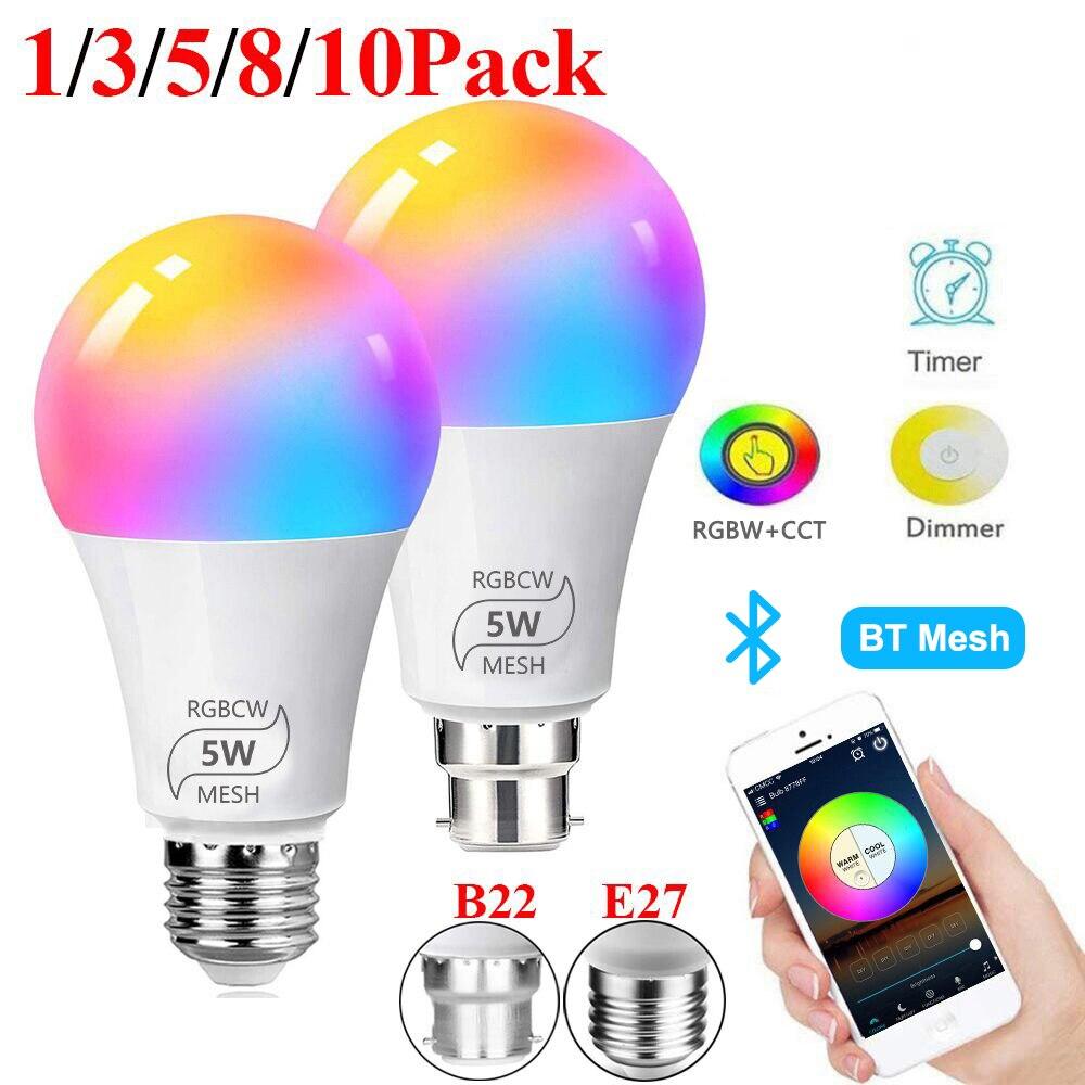 Smart Bulb E27 B22 Dimmable Bluetooth 4.0 Magic Bulb Color Changing Lamp Alexa Google Assistant IOS/Android RGB LED Bulb D30