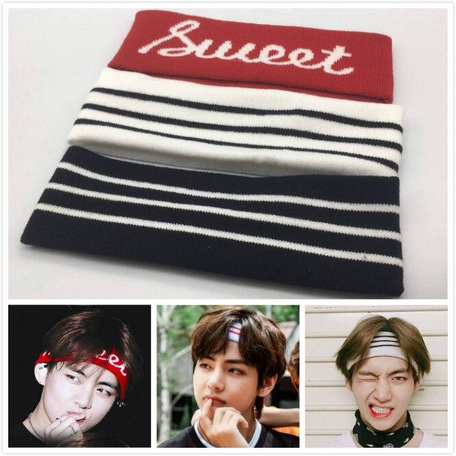 Kpop Kim Tae Hyung Fashion Headband Elastic Hair Bands Soft Men Women Hairband Hair Accessories Bangtan Boys V Headwrap Gift