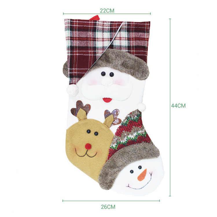 1/3PCS Kerst Kousen Kerstboom Ornamenten Kids Gift Candy Bag Kerstman Sneeuwpop Elanden Sok Kerst Decoratie voor Thuis