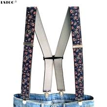 Подтяжки для взрослых с цветочным принтом, дизайн, h-образные, Ширина 3,5, 4 зажима, регулируемые эластичные подтяжки для мужчин и женщин, штаны, брюки