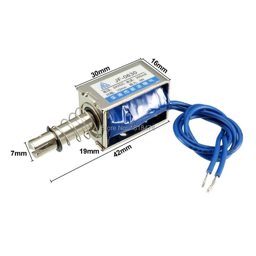 JF-0630 DC 6V 12V 24V 6N 10mm Stroke Pull Type Solenoid Electromagnet Open Frame Type Linear Motion