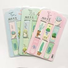 6 sztuk/zestaw świeża zieleń rośliny kaktus magnetyczne zakładki książki Marker strony papiernicze szkolne materiały biurowe spinacz