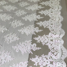 Cream white with pink shiny glitters tulle mesh lace fabric 1 yard! Woman evening gowns dresses making sequins 2019 NEW