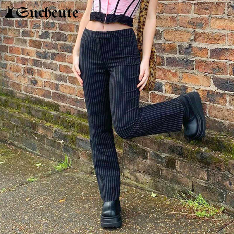 Suchcute Pantalones De Rayas Para Mujer Moda Gotica Y2k Pantalones Rectos De Cintura Alta Ropa De Calle Trajes De Moda Pantalones De Estilo Coreano Pantalones Y Pantalones Capri Aliexpress