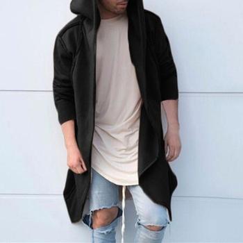 Marka ZOGAA jesienno-zimowa moda męska długi płaszcz z kapturem chłopaki chłopcy Casual z długim rękawem odzież z kapturem mężczyzna jednolity długi płaszcz 2020 tanie i dobre opinie Pełne Stałe Otwarty szew V-neck REGULAR man-p3278 NONE Ze sztruksu Wełniana long Konwencjonalna Na co dzień STANDARD
