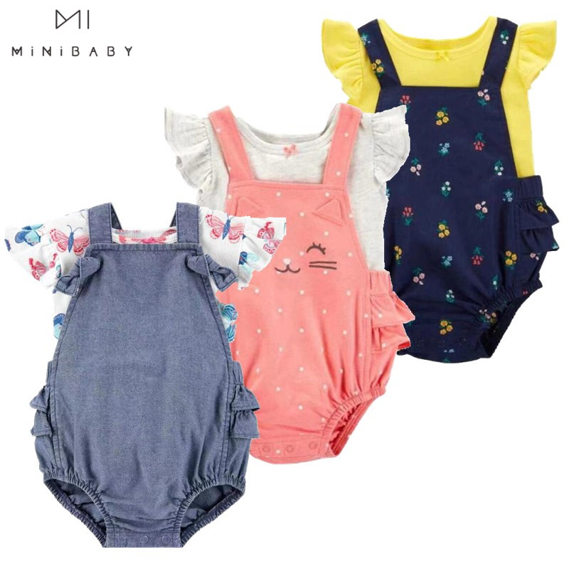 Brand Newborn-24M Girls Baby Clothes Summer Baby Girls Romper Cute Girls Cartoon Short Overalls Suit Cotton O-neck 2pc Baby Sets