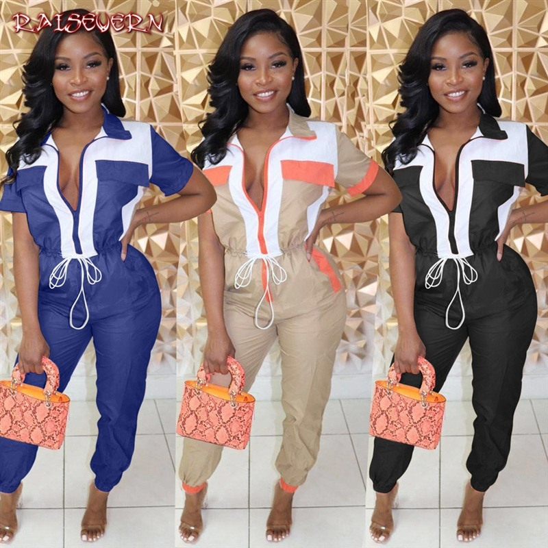 RAISEVERN Women Sexy Deep V-Neck Zipper Short Sleeve Jumpsuits Color Patchwork Pockets High Waist Sashes Skinny Overalls Rompers