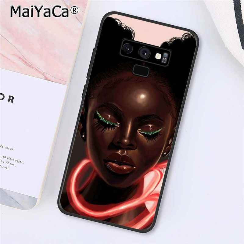 MaiYaCa kraliçe Afro Melanin Poppin siyah kız telefon kılıfı için Samsung Galaxy A50 A70 A20 A30 Note9 8 Note7 Note10 pro