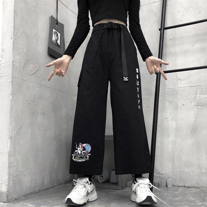 Cargo Pants Women Korean Style Streetwear High Waist Loose Wide Leg Pants New 2020 Fashion All-match Harajuku Trousers P434