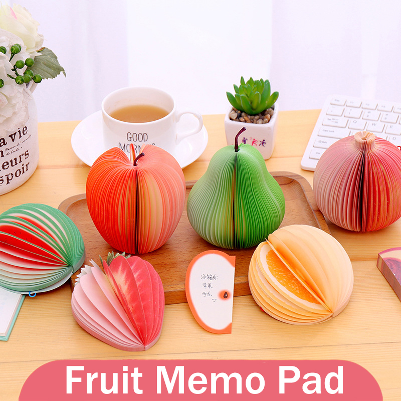 9pcs Kawaii Fruit Memo Pad Non-sticky Cute Post It To Do List Notepad Memo Sheets Decoration Stationary Planner Stickers
