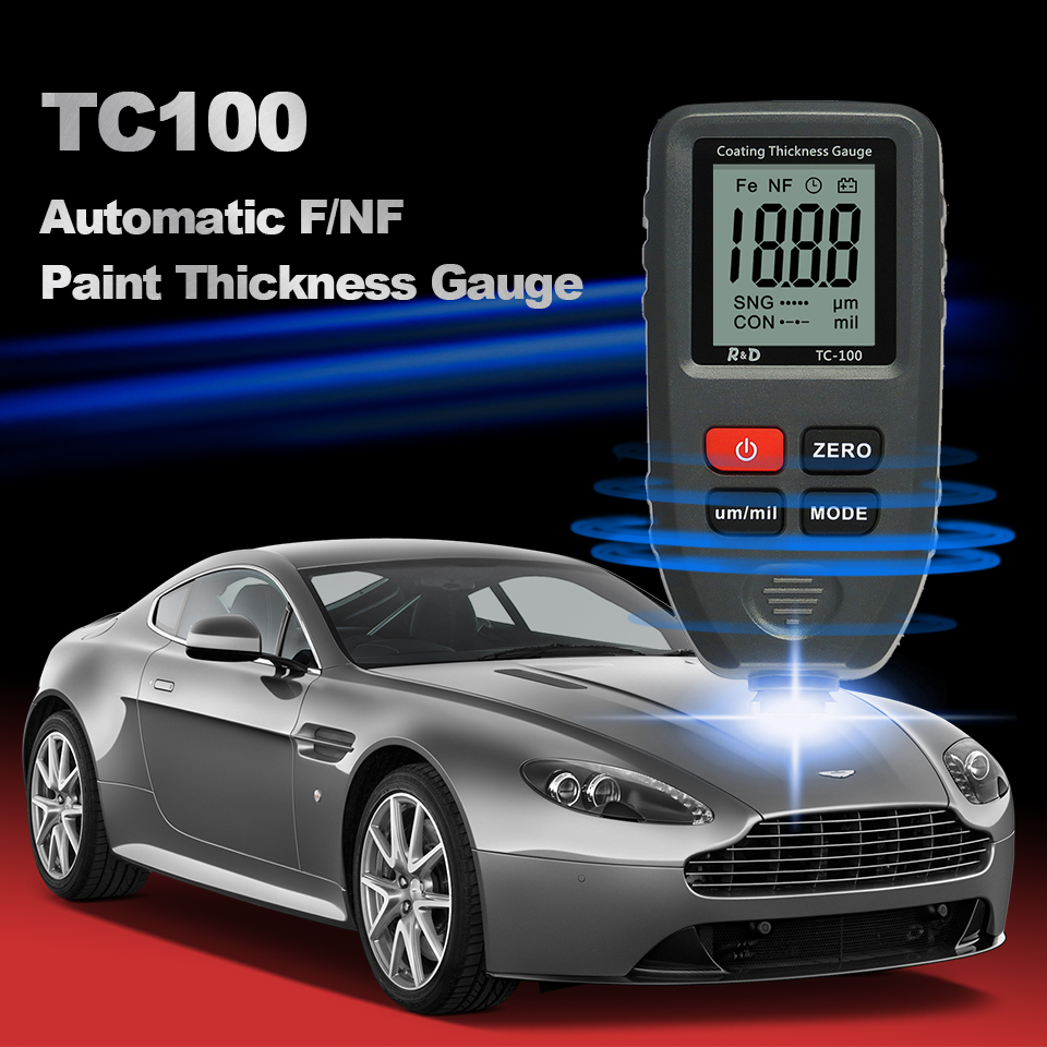 Tools : R amp D TC100 Coating Thickness Gauge 0 1micron 0-1300 Car Paint Film Thickness Tester Measuring FE NFE Russian Manual Paint Tool